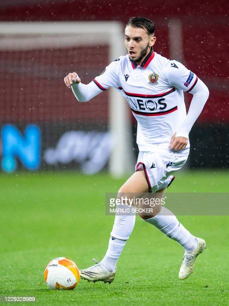 Nice's French forward Amine Gouiri controls the ball during the UEFA Europa League Group C football match Bayer 04 Leverkusen v Nice at the BayArena...