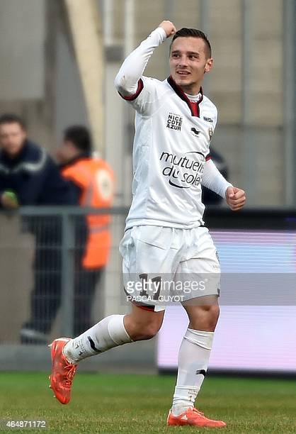 Nice's French forward Eric Bautheac reacts after scoring a goal during the French L1 football match between Montpellier and Nice on March 1 2015 at...