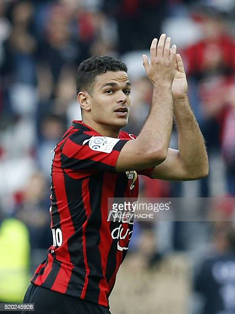 Nice's French forward Hatem Ben Arfa applauds as he leaves the pitch during the French L1 football match between Nice and Rennes on April 10 2016 at...