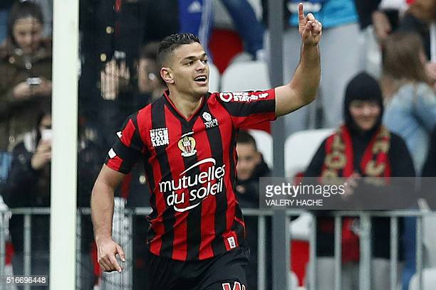 Nice's French forward Hatem Ben Arfa celebrates after scoring a goal during the French L1 football match between Nice and Gazelec Ajaccio at the...