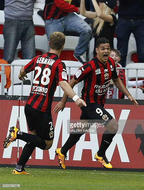 Nice's French forward Hatem Ben Arfa celebrates after scoring a goal during the French L1 football match between Nice and Rennes on April 10 2016 at...