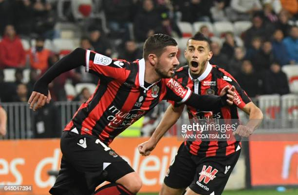 Nice's French forward Mickael Le Bihan celebrates after scoring during the French L1 football match OGC Nice vs Montpellier HSC at the Allianz...
