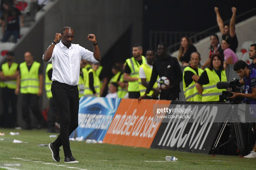 Nice's French head coach Patrick Vieira celebrates after his team's victory after the French L1 football match between Nice and Rennes at The 'Allianz Riviera' Stadium in Nice, southern France on September 14, 2018.