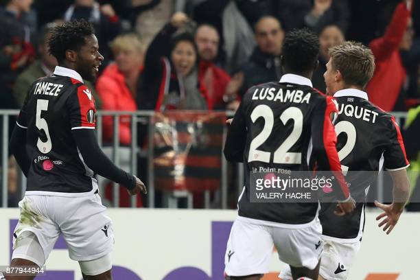 Nice's French midfielder Adrien Tameze celebrates after scoring a goal during the UEFA Europa League football match between OGC Nice vs SV Zulte...