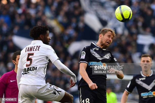 Nice's French midfielder Adrien Tameze vies with Bordeaux's Czech midfielder Jaroslav Plasil during the French L1 football match between Bordeaux and...
