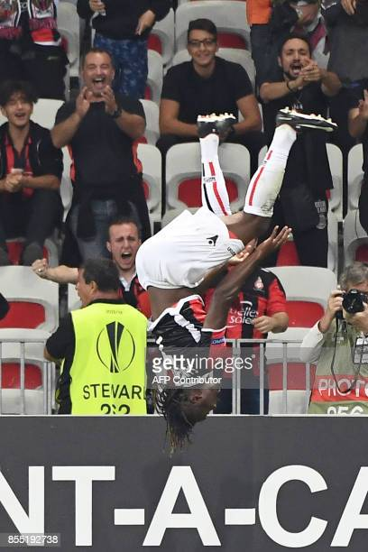 Nice's French midfielder Allan SaintMaximin celebrates after scoring a goal during the UEFA Europa League group K football match between Nice and...