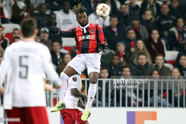 Nice's French midfielder Allan SaintMaximin heads the ball during the UEFA Europa League football match between Nice and Lokomotiv Moscow on February...