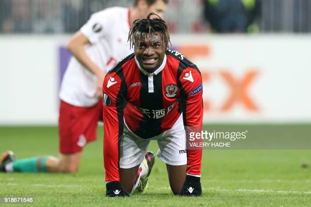 Nice's French midfielder Allan SaintMaximin reacts during the UEFA Europa League football match between Nice and Lokomotiv Moscow on February 15 at...