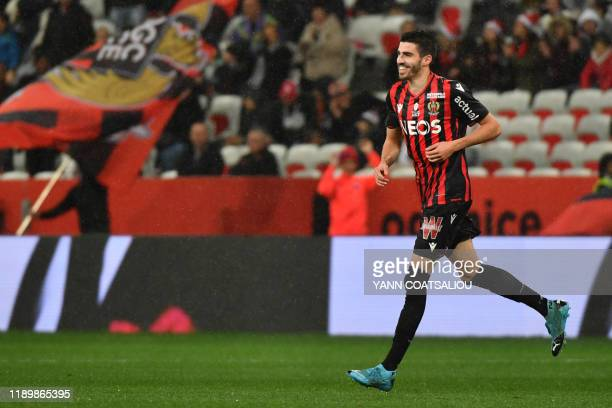 Nice's French midfielder Pierre Lees-Melou celebrates after scoring a goal during the French L1 football match between OGC Nice and Toulouse FC at...