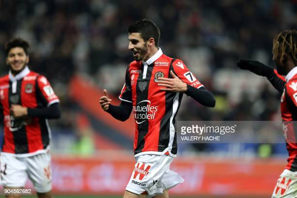 Nice's french midfielder Pierre LeesMelou celebrates after scoring a goal during the French L1 football match Nice vs Amiens on January 13 2018 at...