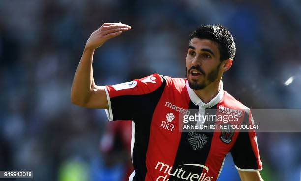 Nice's french midfielder Pierre LeesMelou celebrates after scoring a goal on April 22 2018 at the Allianz Riviera Stadium in Nice southern France...