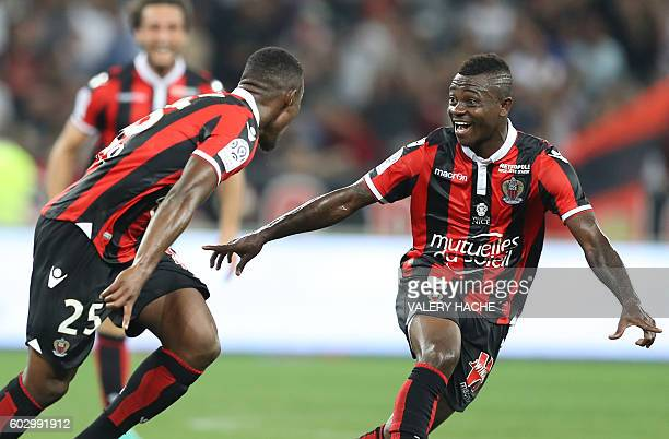 Nice's French midfielder Wylan Cyprien celebrates after scoring a goal lduring the French L1 football match OGC Nice vs Olympique de Marseille on...