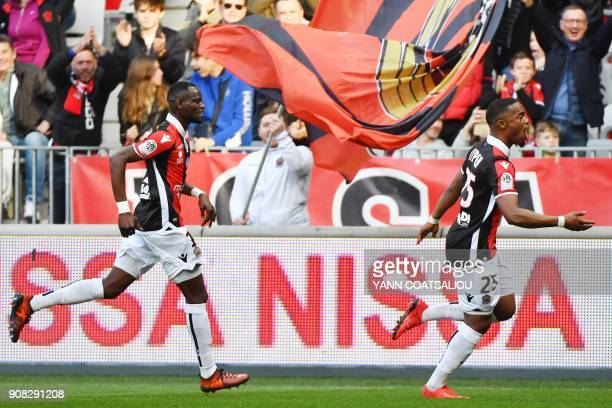 Nice's French midfielder Wylan Cyprien celebrates after scoring a goal during the French L1 football match between Nice and Saint Etienne at the...