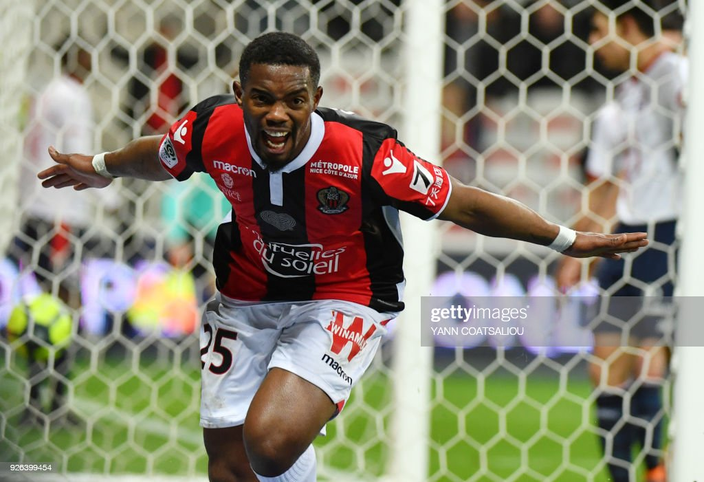 Nice's French midfielder Wylan Cyprien celebrates after scoring a goal during the French L1 football match Nice (OGCN) vs Lille (LOSC) on March 2, 2018 at Allianz Riviera Stadium in Nice. /