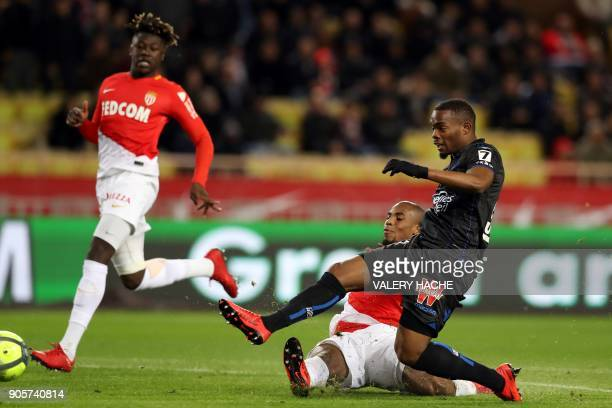 Nice's French midfielder Wylan Cyprien kicks the ball during the French L1 football match Monaco vs Nice on January 16 2018 at the 'Louis II Stadium'...