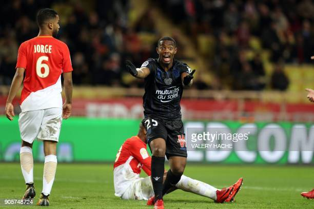 Nice's French midfielder Wylan Cyprien reacts during the French L1 football match Monaco vs Nice on January 16 2018 at the 'Louis II Stadium' in...