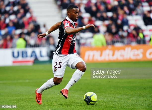 Nice's French midfielder Wylan Cyprien runs with the ball during the French L1 football match between Nice and SaintEtienne at the Allianz Riviera...