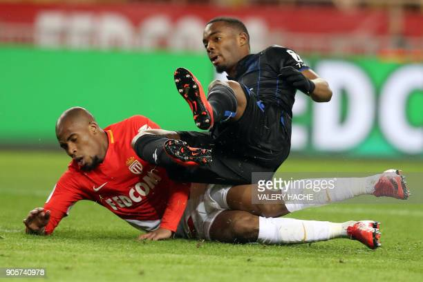 Nice's French midfielder Wylan Cyprien vies with Monaco's French defender Djibril Sidibe during the French L1 football match Monaco vs Nice on...