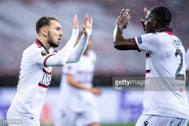 Nice's goalscorer Amine Gouiri and Stanley Nsoki cheer after the goal to make it 2-1 during the UEFA Europa League Group C stage match between Bayer...