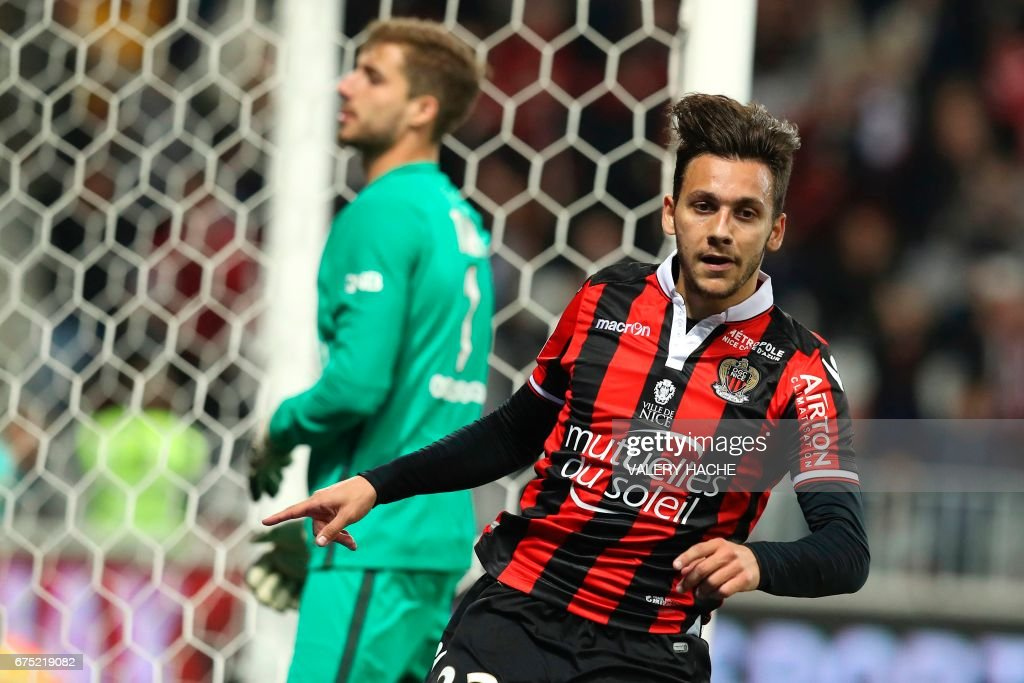 Nice's Greek forward Anastasios Donis celebrates after scoring a goal during the French L1 football match Nice (OGCN) vs Paris Saint Germain (PSG) on April 30, 2017 at the 'Allianz Riviera' stadium in Nice, southeastern France. /