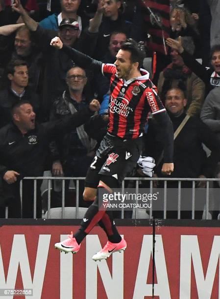Nice's Greek forward Anastasios Donis celebrates after scoring the team's third goal during the French L1 football match Nice vs Paris Saint Germain...