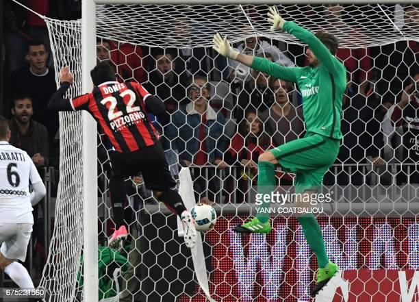 Nice's Greek forward Anastasios Donis scores a goal during the French L1 football match Nice vs Paris Saint Germain on April 30 2017 at the 'Allianz...