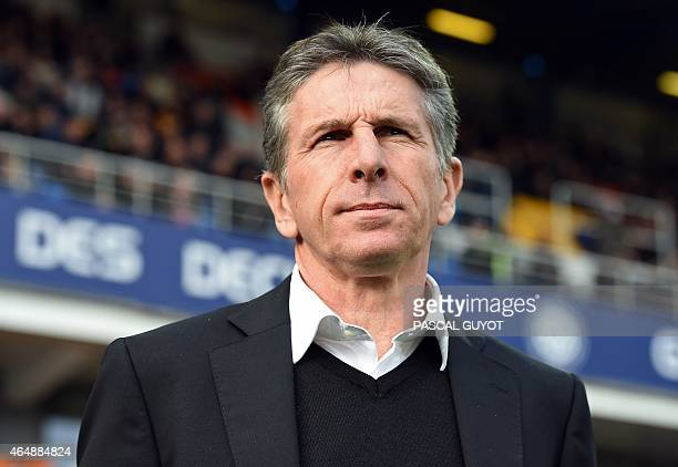 Nice's head coach Claude Puel attends the French L1 football match between Montpellier and Nice on March 1 2015 at the la Mosson Stadium in...