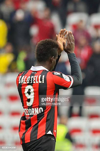 Nice's Italian forward Mario Balotelli celebrates after scoring a goal during the French L1 football match Nice vs Guingamp on January 29 2017 at the...