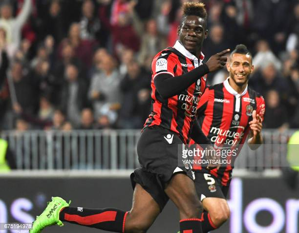 Nice's Italian forward Mario Balotelli celebrates after scoring a goal during the French L1 football match Nice vs Paris Saint Germain on April 30...