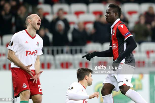 Nice's Italian forward Mario Balotelli celebrates after scoring a goal during the UEFA Europa League match between Nice and Lokomotiv Moscow on...