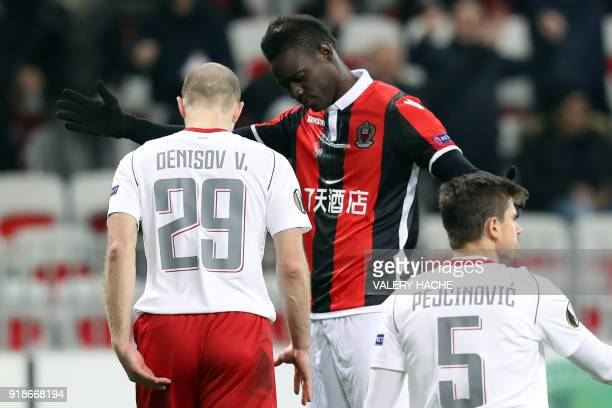 Nice's Italian forward Mario Balotelli celebrates after scoring a goal during the UEFA Europa League football match between Nice and Lokomotiv Moscow...