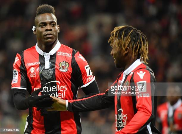 Nice's Italian forward Mario Balotelli celebrates after scoring a goal during the French L1 football match Nice vs Lille on March 2 2018 at Allianz...