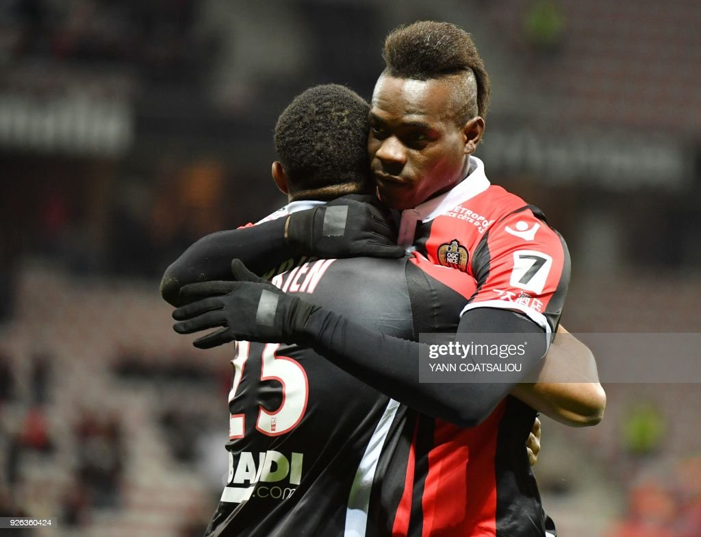 Nice's Italian forward Mario Balotelli celebrates after scoring a goal during the French L1 football match Nice (OGCN) vs Lille (LOSC) on March 2, 2018 at Allianz Riviera Stadium in Nice. /