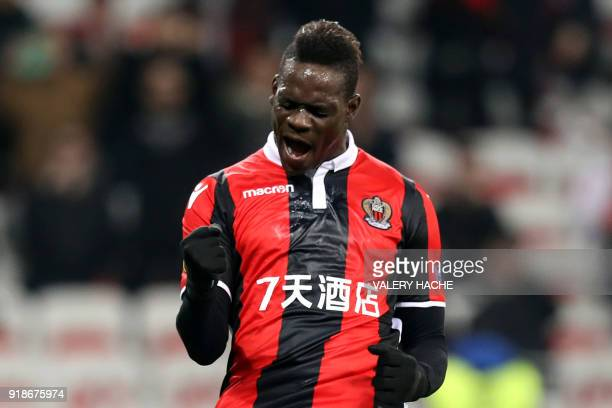 Nice's Italian forward Mario Balotelli celebrates after scoring a second goal during the UEFA Europa League football match between Nice and Lokomotiv...