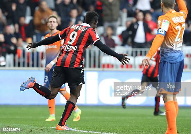 Nice's Italian forward Mario Balotelli celebrates after scoring during the French L1 football match Nice vs Dijon on December 18 2016 at the 'Allianz...