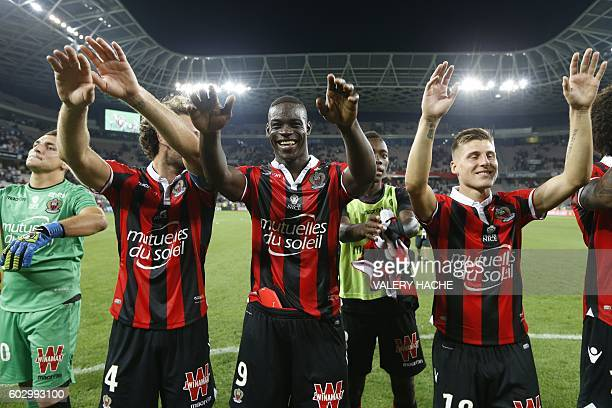 Nice's Italian forward Mario Balotelli celebrates his team's victory at the end of the French L1 football match OGC Nice vs Olympique de Marseille on...