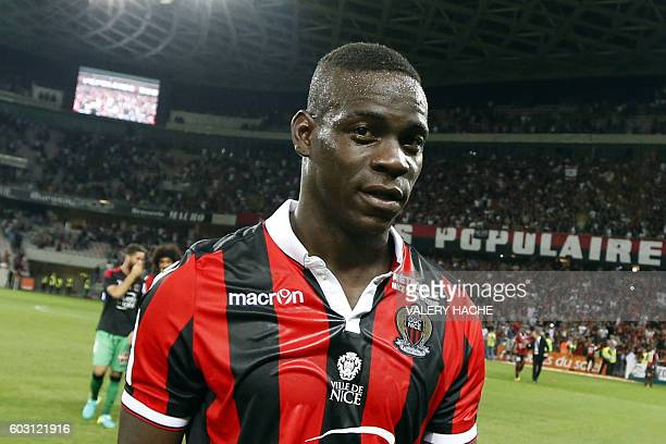 Nice's Italian forward Mario Balotelli looks on at the end of the French L1 football match Nice vs Marseille on September 11 2016 at the Allianz...