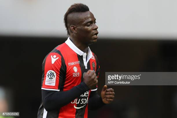 Nice's Italian forward Mario Balotelli reacts after scoring during the French L1 football match Nice vs Dijon on November 5 2017 at the 'Allianz...