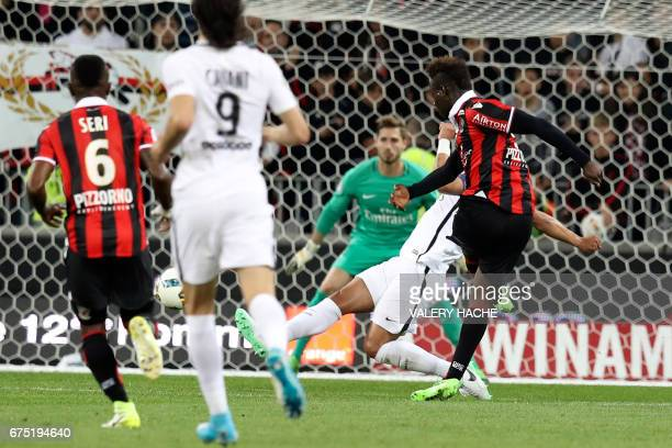 Nice's Italian forward Mario Balotelli scores a goal during the French L1 football match Nice vs Paris Saint Germain on April 30, 2017 at the...