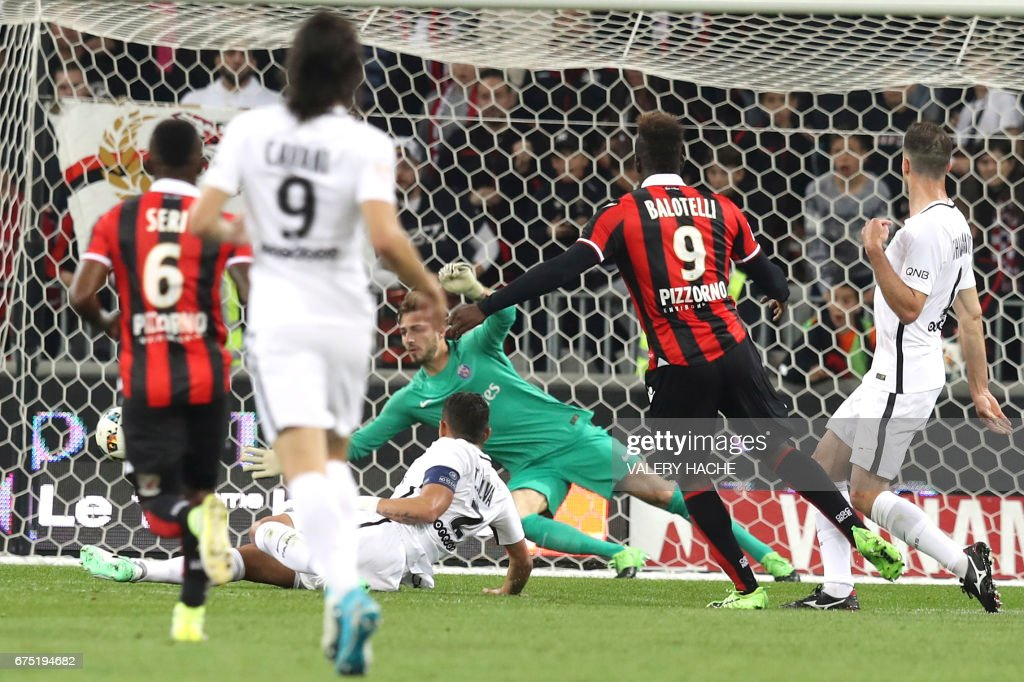 Nice's Italian forward Mario Balotelli scores a goal during the French L1 football match Nice (OGCN) vs Paris Saint Germain (PSG) on April 30, 2017 at the 'Allianz Riviera' stadium in Nice, southeastern France. /