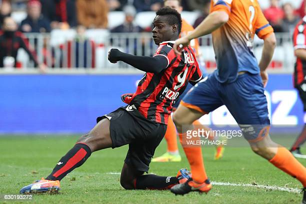 Nice's Italian forward Mario Balotelli scores during the French L1 football match Nice vs Dijon on December 18 2016 at the 'Allianz Riviera' stadium...