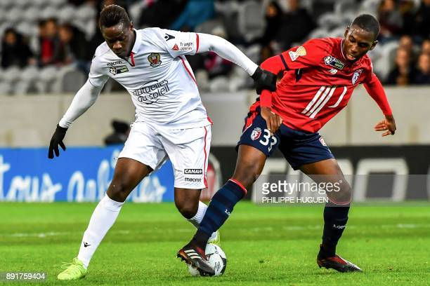 Nice's Italian forward Mario Balotelli vies with Lille's French midefielder Boubakary Soumare during the French League Cup roud of 16 football match...