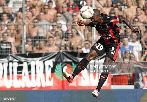 Nice's Ivorian forward Franck Dja Djedje heads the ball during the French L1 football match Nice versus Lille on August 25 2012 at the Ray stadium in...
