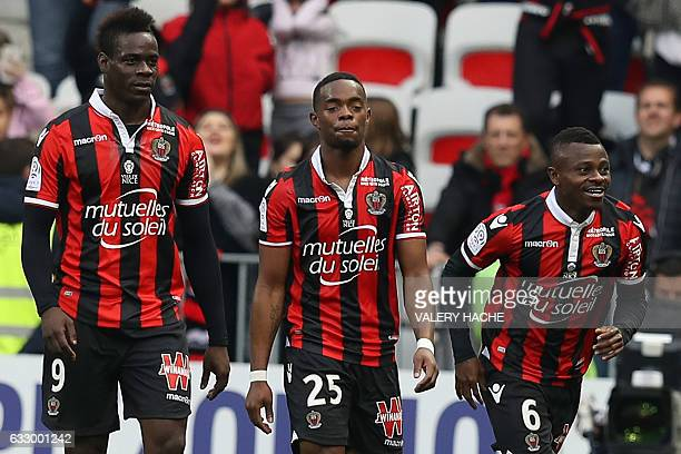 Nice's Ivorian midfielder Jean Michael Seri celebrates after scoring a goal during the French L1 football match Nice vs Guingamp on January 29 2017...