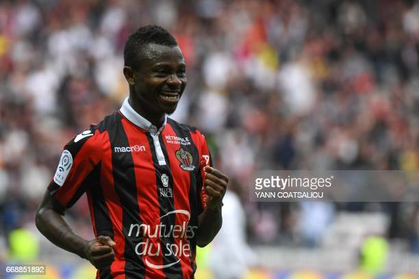 Nice's Ivorian midfielder Jean Michael Seri celebrates after scoring a goal during the French L1 Football match between OGC Nice and AS Nancy...
