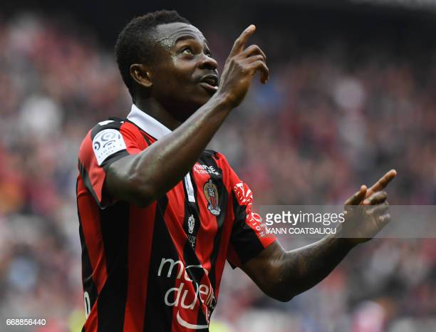 Nice's Ivorian midfielder Jean Michael Seri celebrates after scoring a goal during the French L1 football match OGC Nice vs AS NancyLorraine at the...