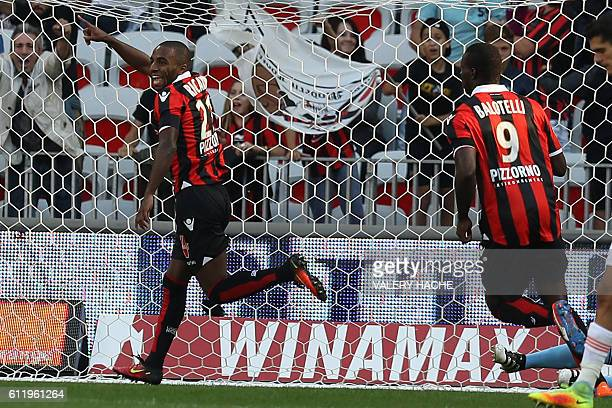 Nice's Portuguese defender Ricardo Pereira celebrates after scoring a goal during a French L1 football match between Nice and Lorient on October 2...