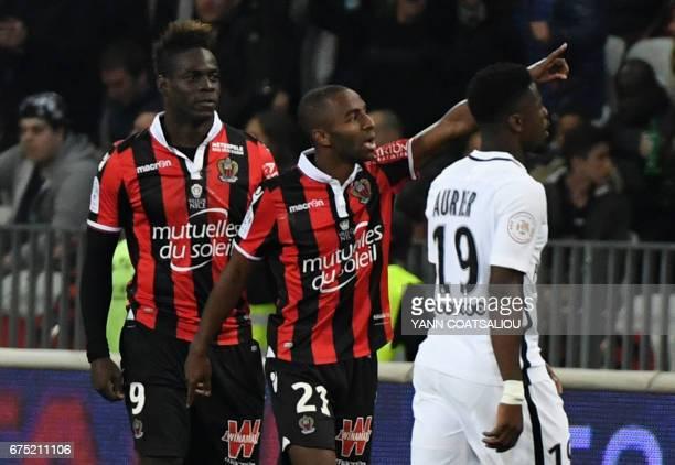 Nice's Portuguese defender Ricardo Pereira celebrates after scoring a goal during the French L1 football match Nice vs Paris Saint Germain on April...