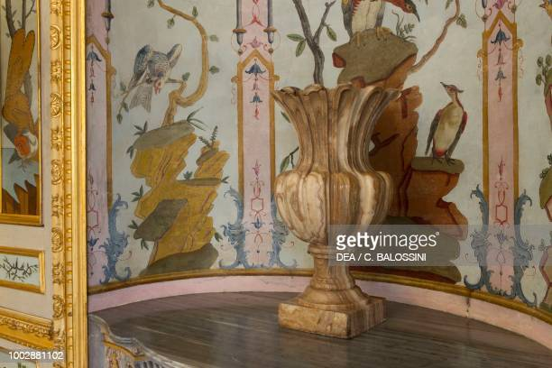 Niche decorated with naturalistic motifs and marble vase in the foreground game room Hunting residence by Filippo Juvarra Stupinigi Piedmont Italy...