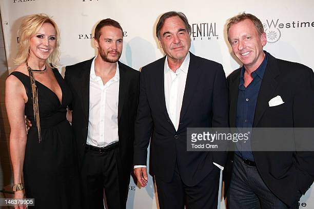 Niche Media Group Publisher Alison Miller Taylor Kitsch and Director Oliver Stone and Los Angeles Confidential editorinchief Spencer Beck pose at the...